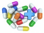 Medical Cross And Pale Of Pills 3D