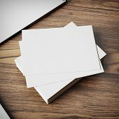 Blank Business Cards On Wood Background