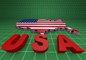 U.s.a. Mapped Flag In 3D Illustration .