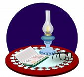 Kerosene Lamp, Book and Glasses.