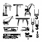 picture of lift truck  - Set icons of crane lifts and winches isolated on white - JPG