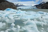 Icebergs breaking off from Glacier Grey, Torres del Paine, Chile
