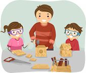 Illustration of a Father Teaching His Kids How to Do Woodwork