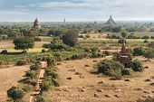 Travel Landscapes And Destinations. Amazing Architecture Of Old Buddhist Temples At Bagan Kingdom, M