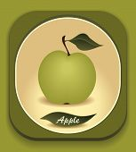 Button with  Green apple and  with leaf
