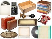 Various vintage objects collection on white background