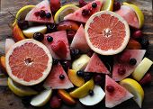 stock photo of fruit platter  - A fruit platter of grapefruit - JPG