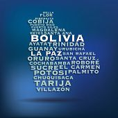 Bolivia map made with name of cities - vector illustration
