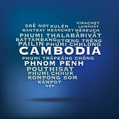 Cambodia map made with name of cities - vector illustration