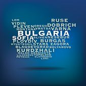 Bulgaria map made with name of cities - vector illustration
