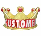 Customer word in red 3d letters on a gold crown to illustrate royal treatment and VIP service for customers