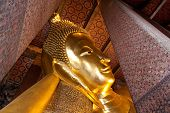 pic of recliner  - Reclining buddha of Pho temple in Bangkok Thailand - JPG