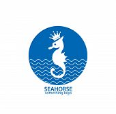 Blue and white seahorse business logo