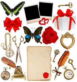 stock photo of inkwells  - collection of various objects for scrapbook - JPG