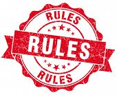 Rules Red Grunge Seal Isolated On White