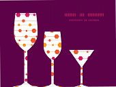 Vector abstract colorful stripes and shapes three wine glasses silhouettes pattern frame