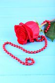 Beautiful red rose with beads on color wooden planks background