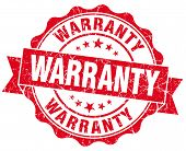 Warranty Red Grunge Seal Isolated On White