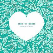 Vector emerald green plants heart silhouette pattern frame