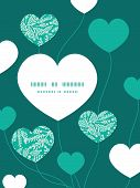 Vector emerald green plants heart symbol frame pattern invitation greeting card template