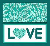 Vector emerald green plants love text frame pattern invitation greeting card template