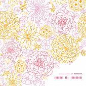 Vector flowers outlined frame corner pattern background
