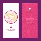 Vector flowers outlined vertical round frame pattern invitation greeting cards set