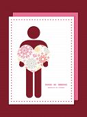 Vector folk floral circles abstract man in love silhouette frame pattern invitation greeting card te