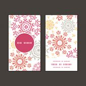 Vector folk floral circles abstract vertical round frame pattern business cards set