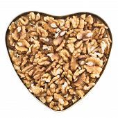 Heart shaped box full of walnuts