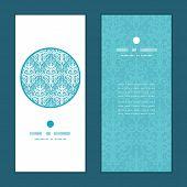 Vector light blue swirls damask vertical round frame pattern invitation greeting cards set