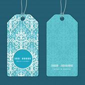 Vector light blue swirls damask vertical round frame pattern tags set