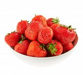 Bowl full of ripe strawberries isolated