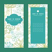 Vector mysterious green garden vertical frame pattern invitation greeting cards set