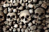 Human bones and skulls in the Sedlec Ossuary near Kutna Hora, Czech Republic.