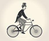 Vector illustration of gentleman ride a vintage bicycle