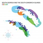 Abstract vector color map of South Georgia and Sandwich Islands.