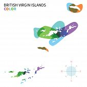 Abstract vector color map of British Virgin Islands with transparent paint effect.