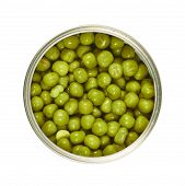 Metal can full of green peas isolated