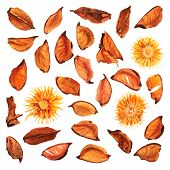 Dried medley potpourri leaves isolated