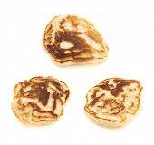 picture of foreshortening  - Small pancakes isolated over the white background - JPG
