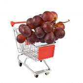 Bunch of grapes in a shipping cart