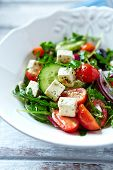 Mediterranean-style salad with feta cheese