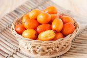 Fruit Jocote (red, Purple Mombin, Siriguela, Hog Plum, Sineguela, Ciruela Huesito) In Wicker Basket
