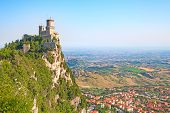 Morning sky over ancient fortifications of the San Marino