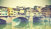 Old bridge in Florence, Italy. Retro style toned image
