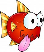 stock photo of nasty  - Mean Nasty Fish Vector Illustration Art - JPG