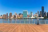 Manhattan New York sunny skyline East River sunshine park NYC USA