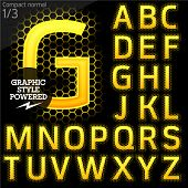 Techno style alphabet sensitive to the background. Compact normal. Set 1