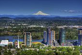 stock photo of portland oregon  - HDR of Mount Hood overlooking Portland Oregon - JPG